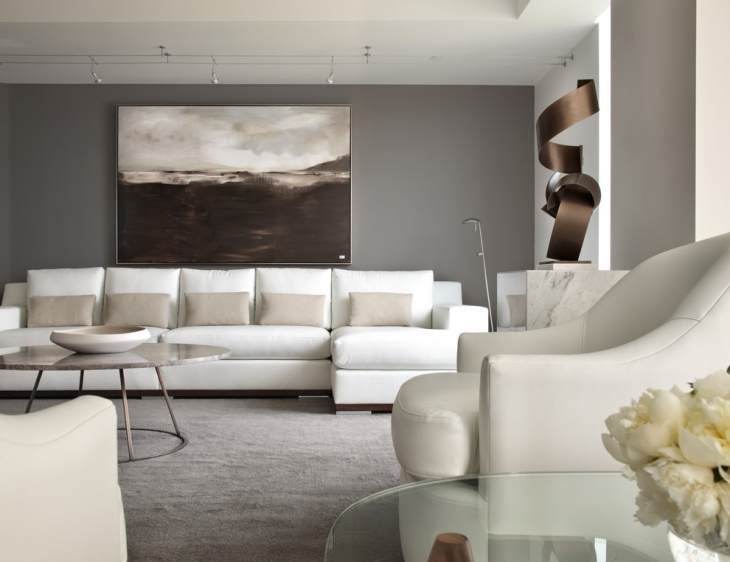Living Room With Grey Sofa.