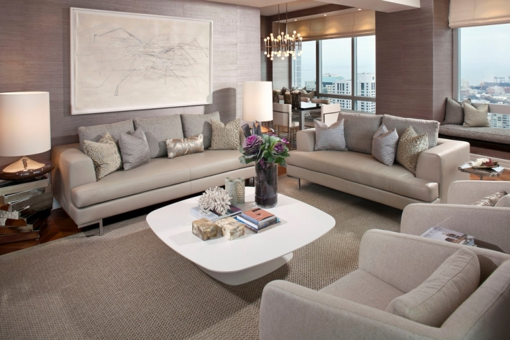 Contemporary Family Room With Grey Sofa