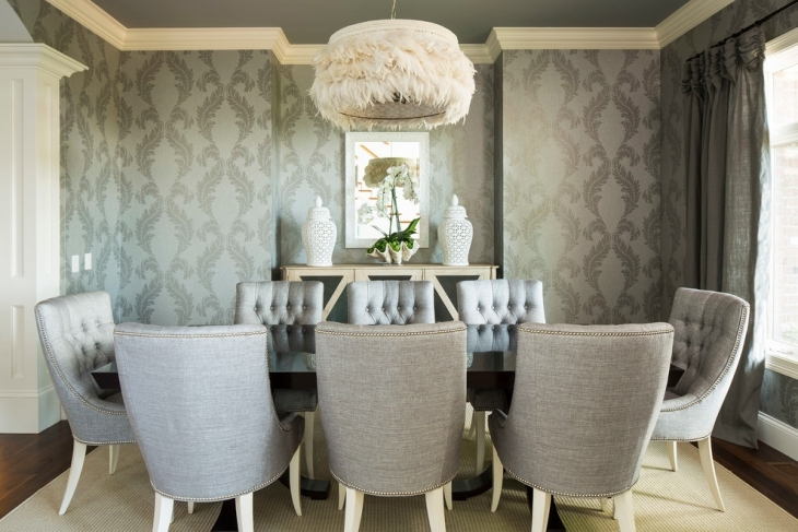 Grey Wallpaper Dining Room Design Idea