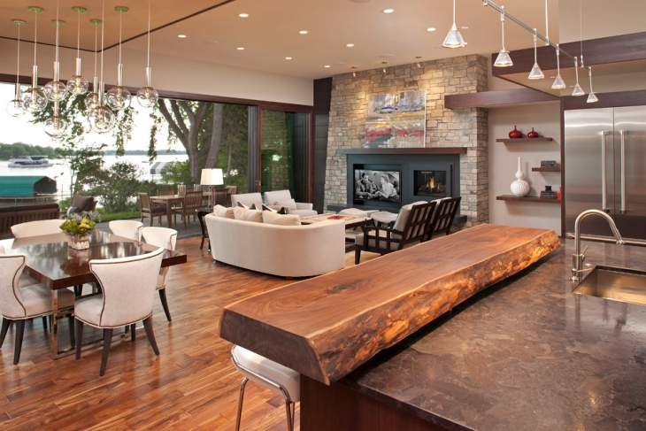 Exceptional Wooden Interior Living Room Bar