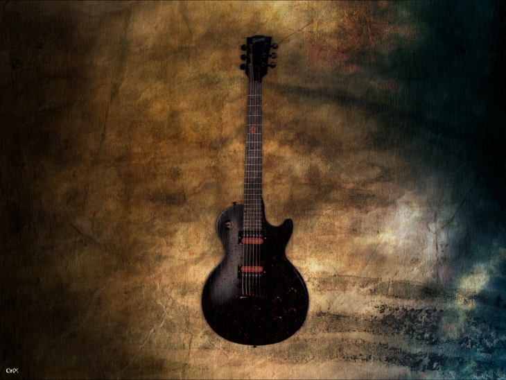Guitar with Grunge Background Image