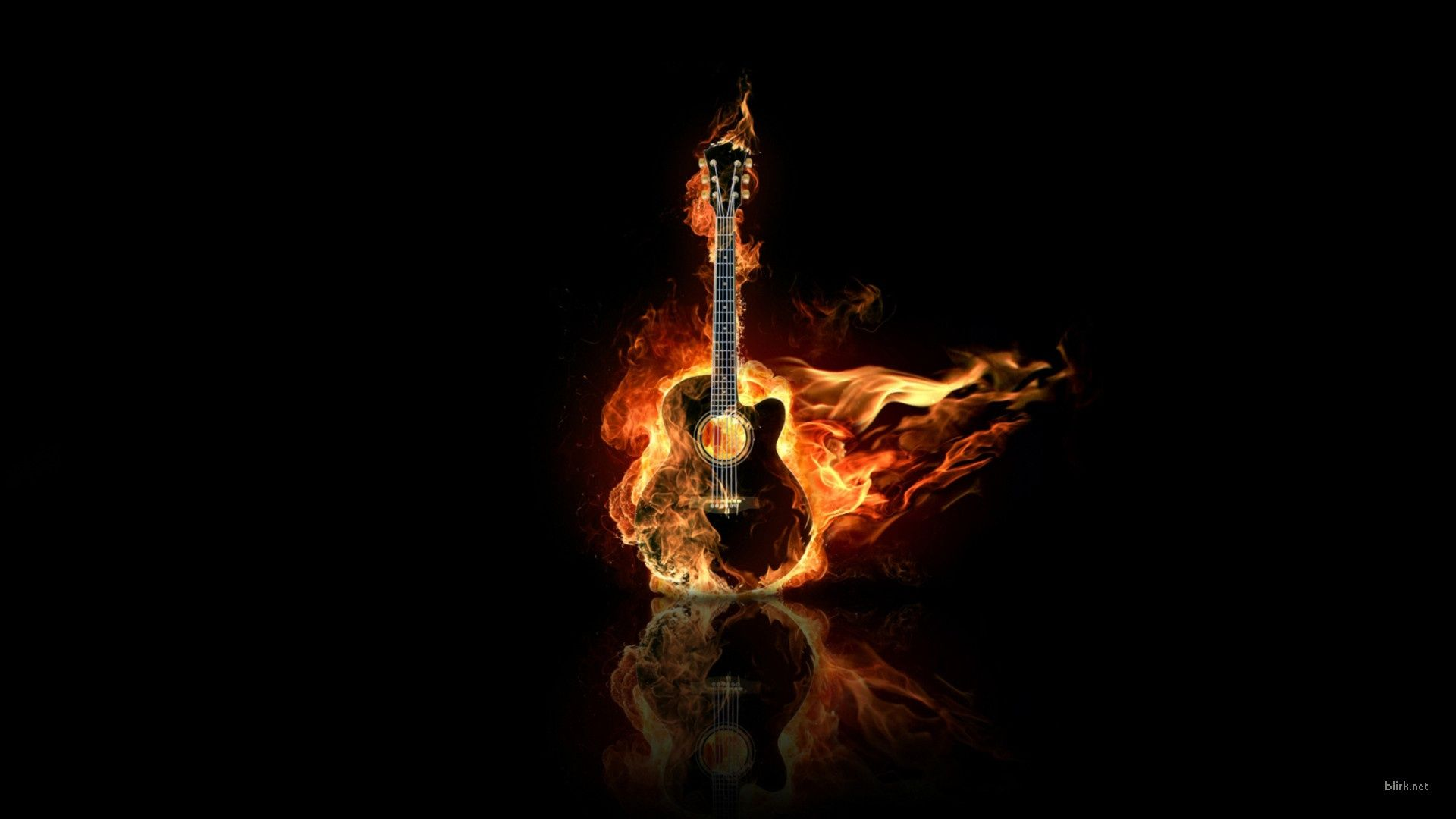 Fire Guitar Wallpaper hd