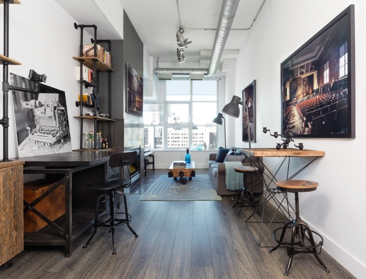 gray color industrial style office