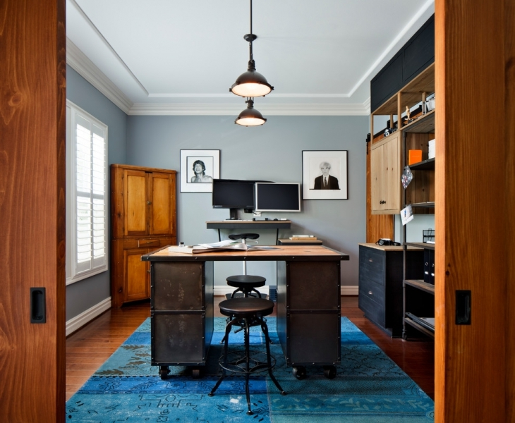 vintage home office in industrial style