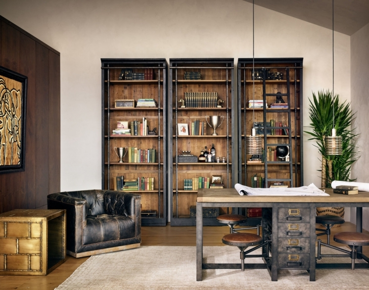 home office design with book shelves