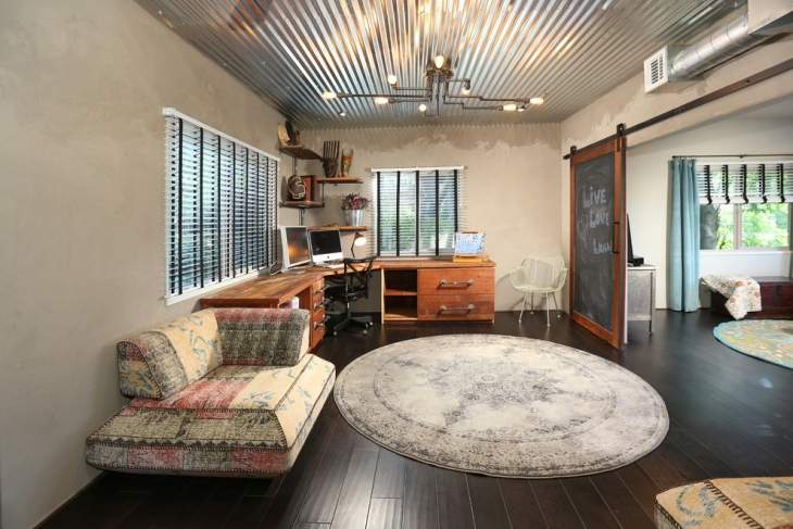 metal ceiling home office design