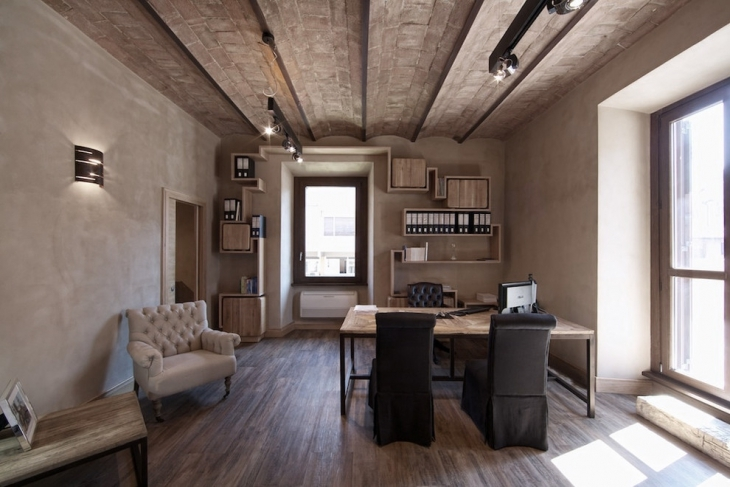 light colored industrial style office