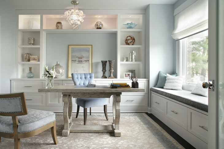 Light Blue Home Office For Small Space