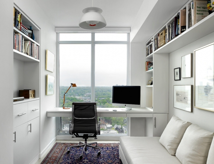 white mini home office design idea