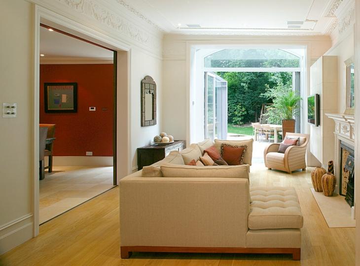 Cream L Shape Sofa Set
