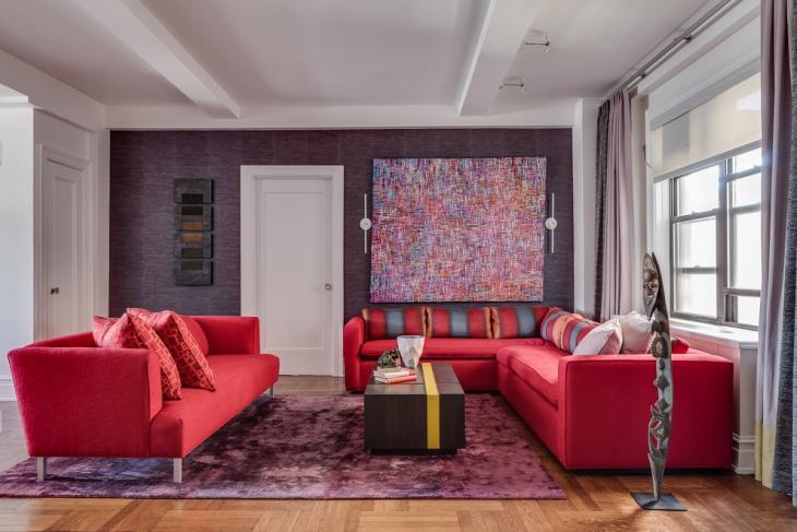 Dark Pink L Shape Sofa Idea