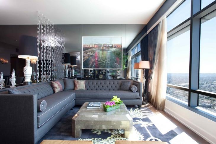 Dark Grey L Shape Sofa Design