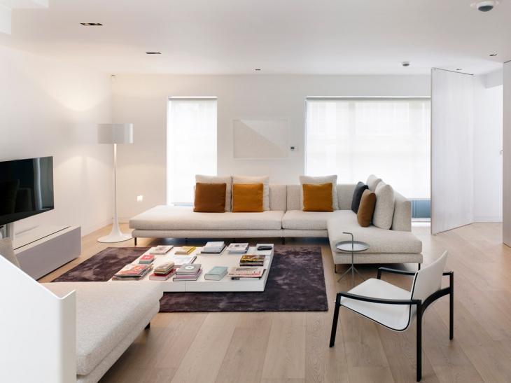 Modish White L Shape Sofa