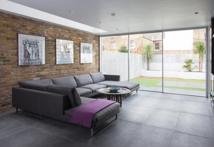 Gray Leather L Shape Sofa