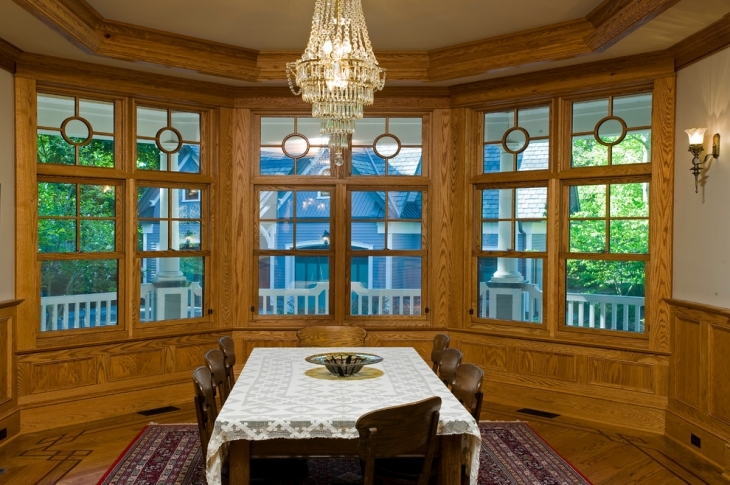 classic wood wall dining room