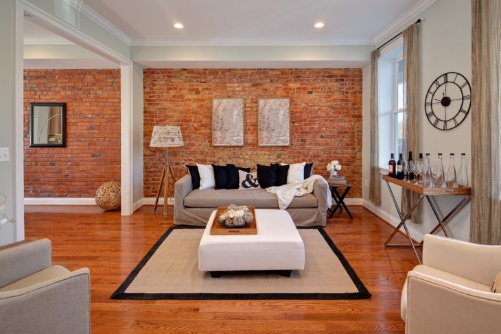 brick family room wall interiors