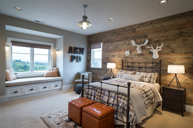wood plank wall bedroom design