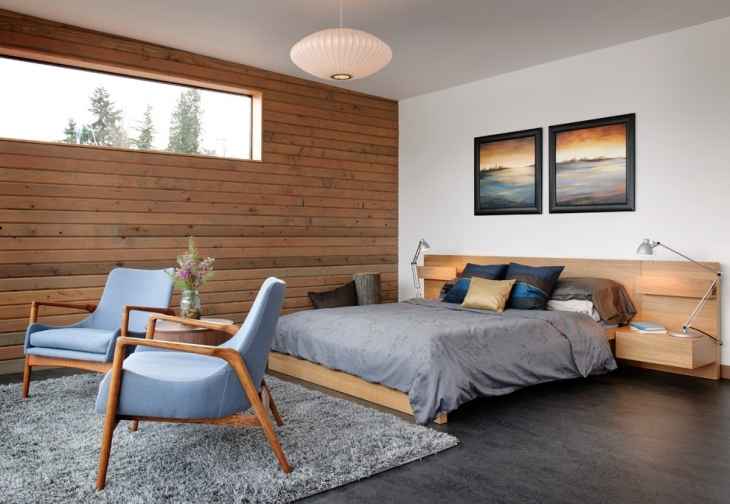 simple wooden wall design bedroom