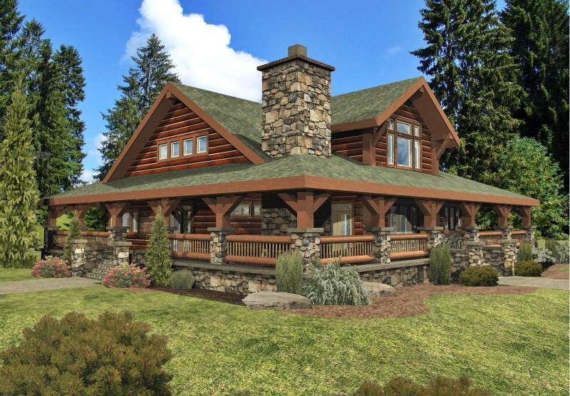 28 log house designs decorating ideas design trends for Log homes with wrap around porch