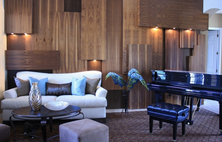 living room wooden wall interiors
