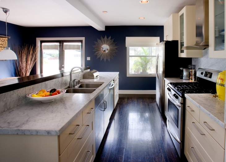 Navy Blue Kitchen Wall Design