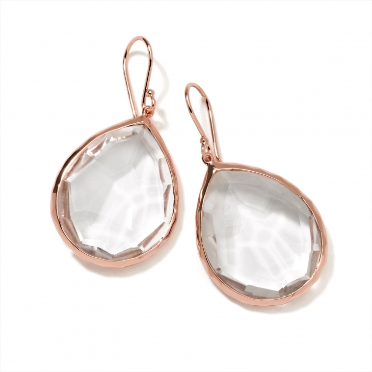 beautiful rose gold earring with stone