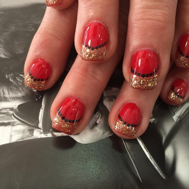 beautiful red sparkle nail design1