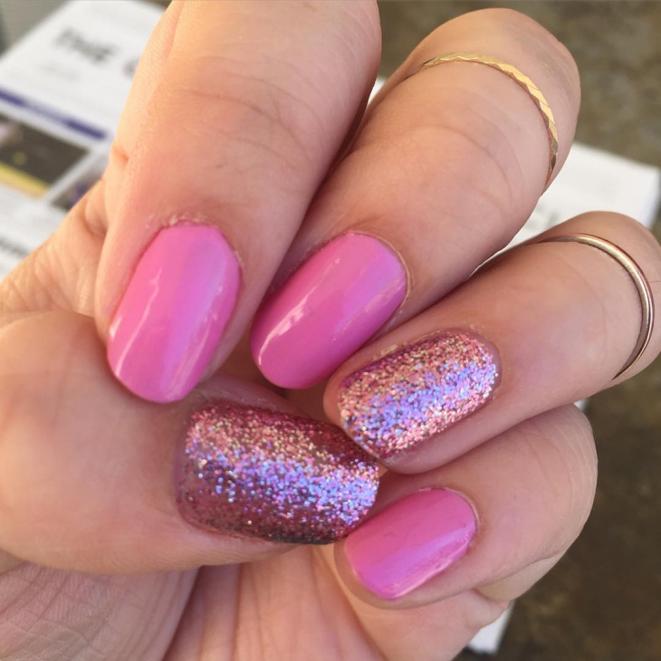 Pink Sparkle Nail Design