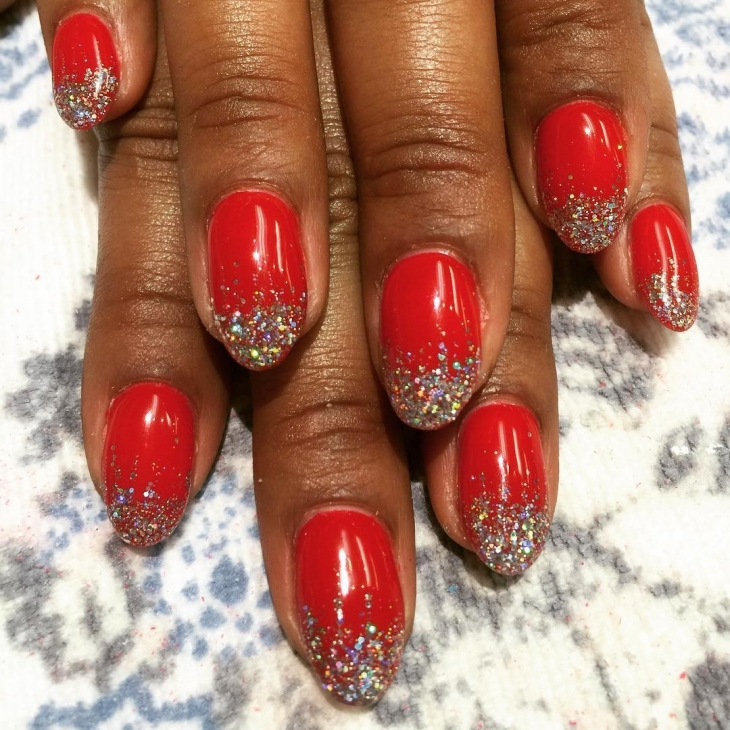 Red Sparkle Nail Design