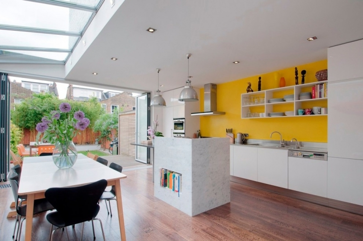 Yellow Wall For Outdoor Kitchen
