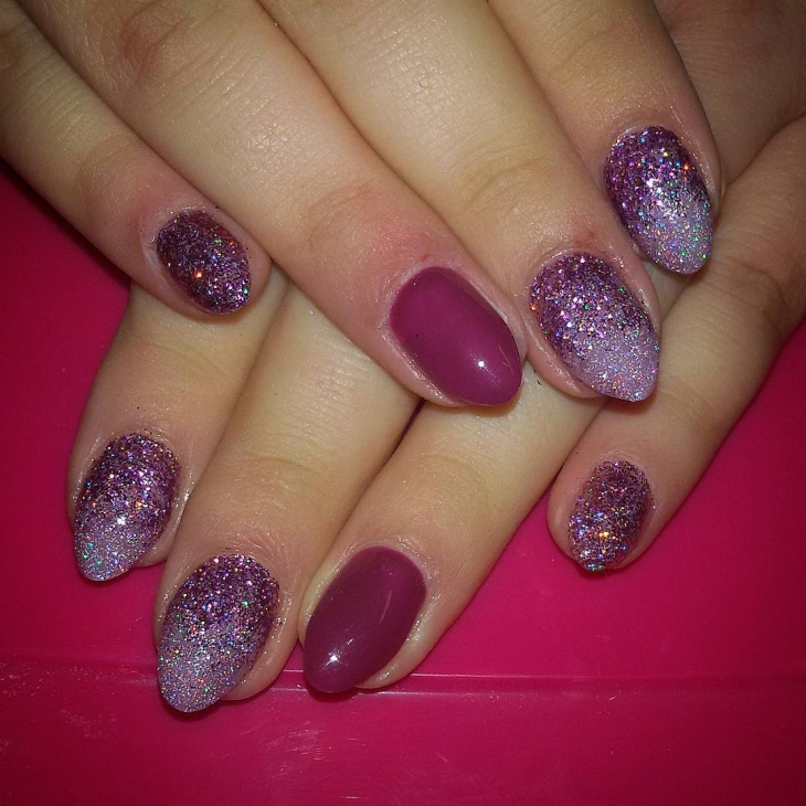 Beautiful Purple Sparkle Nail Design