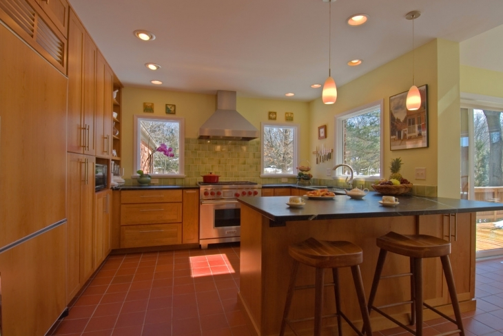 Traditional Light Green Countertop Kitchen.