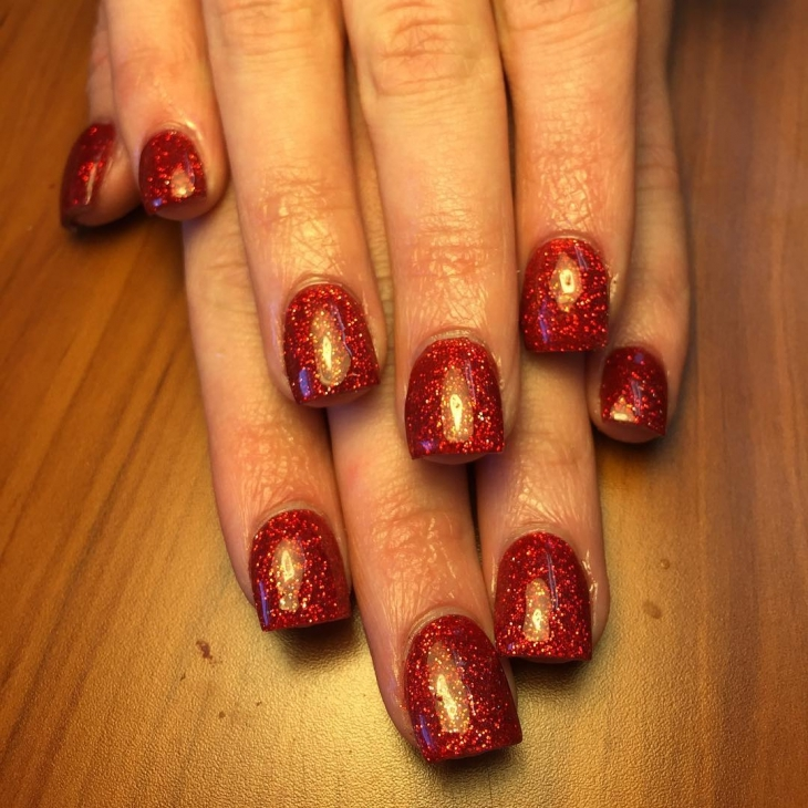 Dark Red Sparkle Nail Design