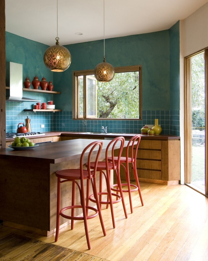 Beau Sky Blue Kitchen Wall Design Image