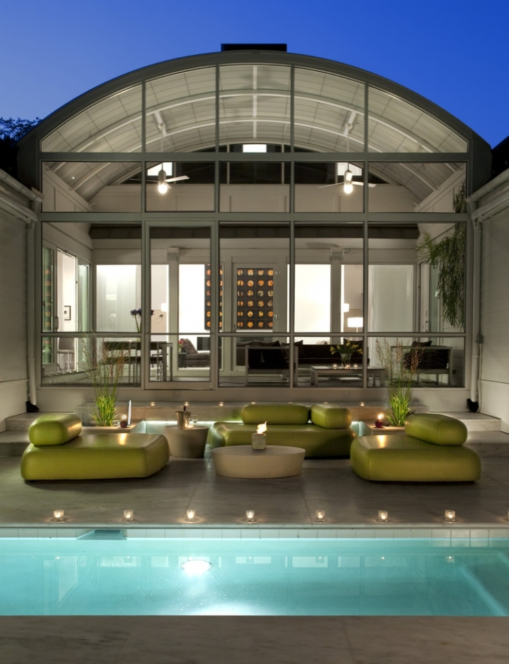 green leather sofa for outdoor patio
