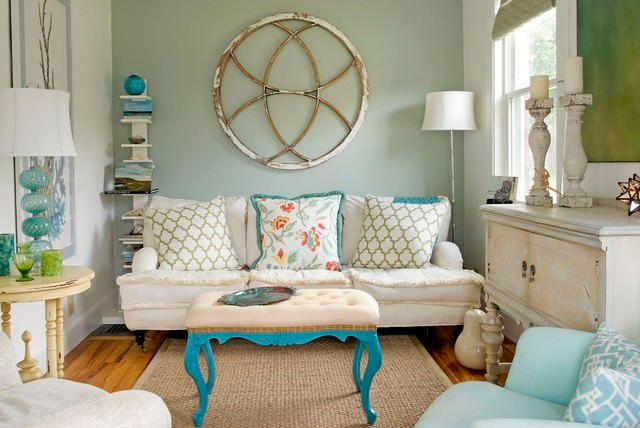 Small Coastal Eclectic Living Room Design