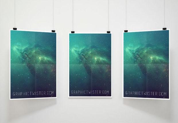 Triple Poster Mockup Free PSD