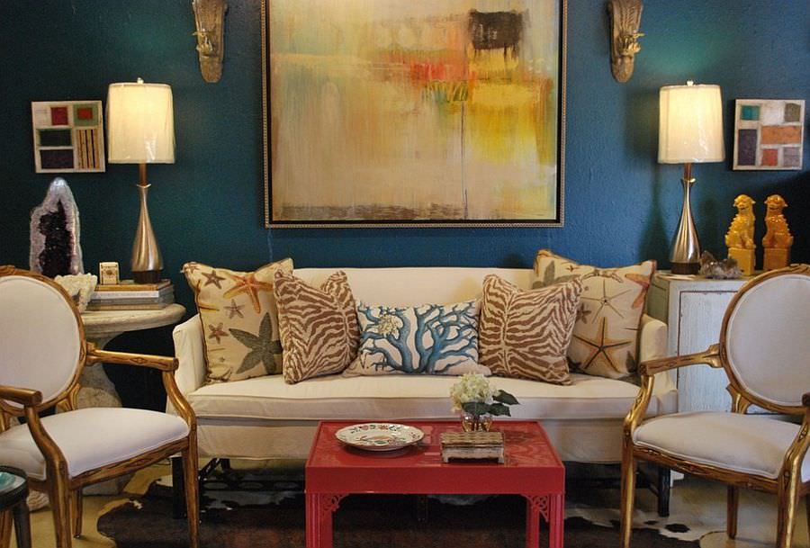 Gold and Turquoise Eclectic Living Room Design