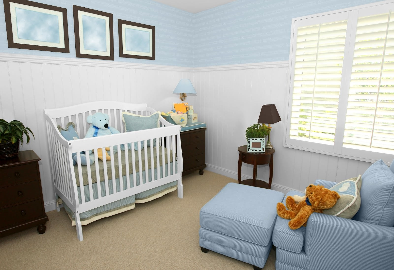 Nice Light Blue Baby Boy Nursery Design