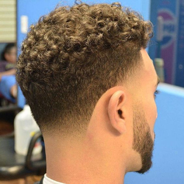 Curly Taper Fade Haircut Design