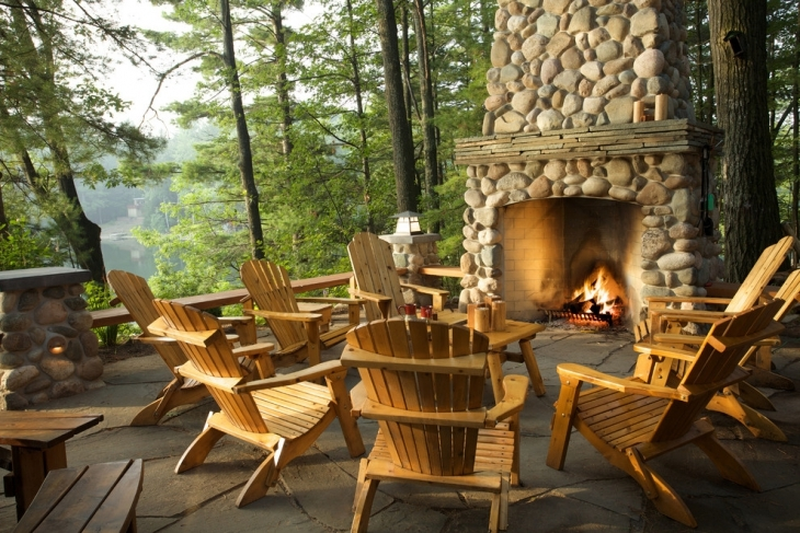 rustic outdoor living space chairs