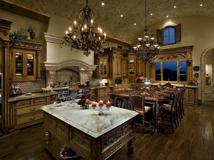 Mediterranean Kitchen With Chandeliers