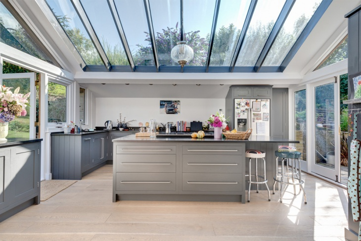 Gray Kitchen With Glass Roof.