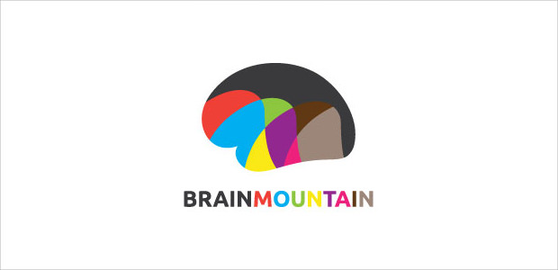 Brain Shape Mountaion Logo Illistration