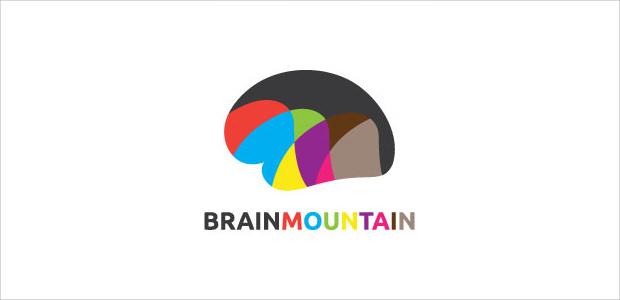 brain shape mountaion logo illistration