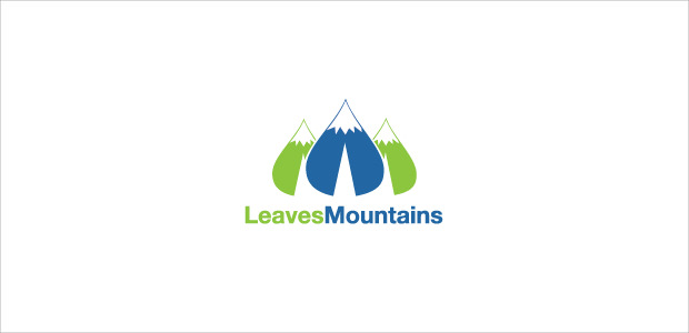 Green Leave Shape Mountain Logo illistration