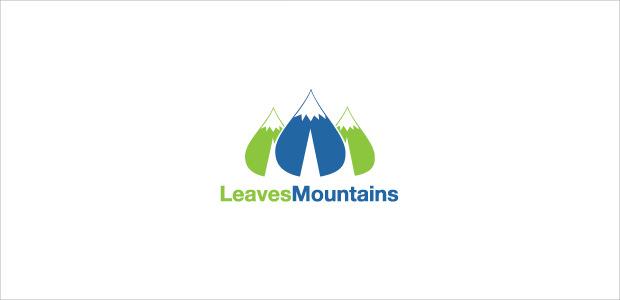 green leave shape mountain logo illistration