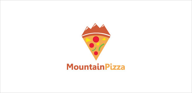 Mountain shape pizza Piece logo Illistration