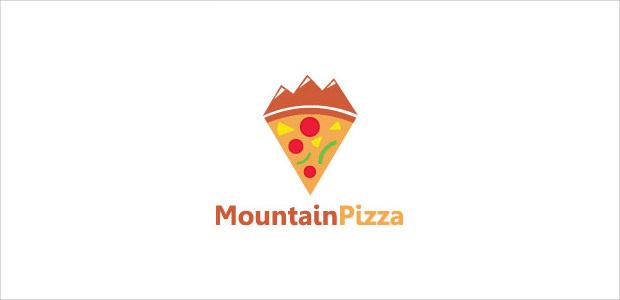 mountain shape pizza piece logo illistration