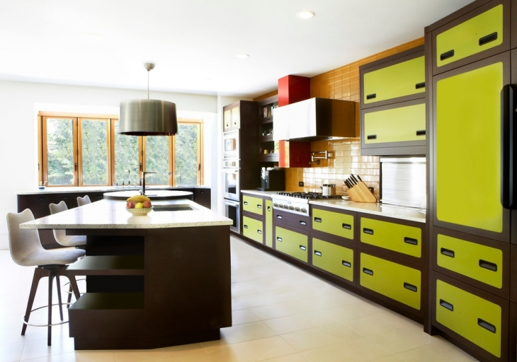 Eclectic Kitchen With Green Cabinets